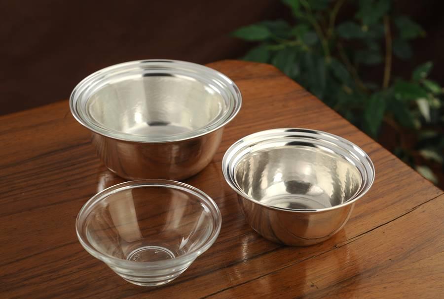 Porta salsa-marmellata in argento con vetro