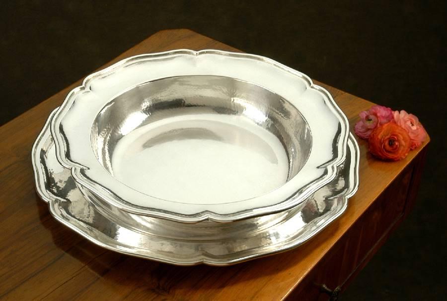 Risottiera in argento con pirex stile veneziano