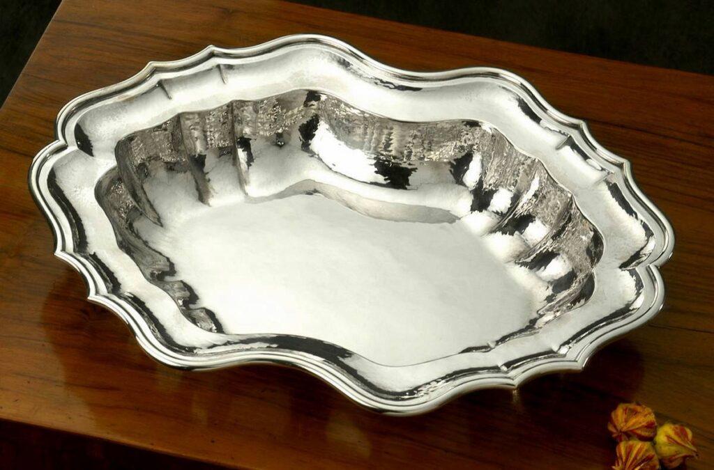 bacile in argento stile '700 per arredo casa