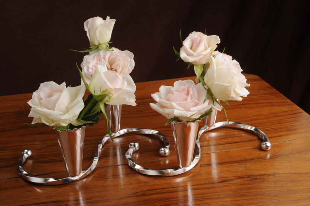 centrotavola in argento porta fiori-candele per arredo casa