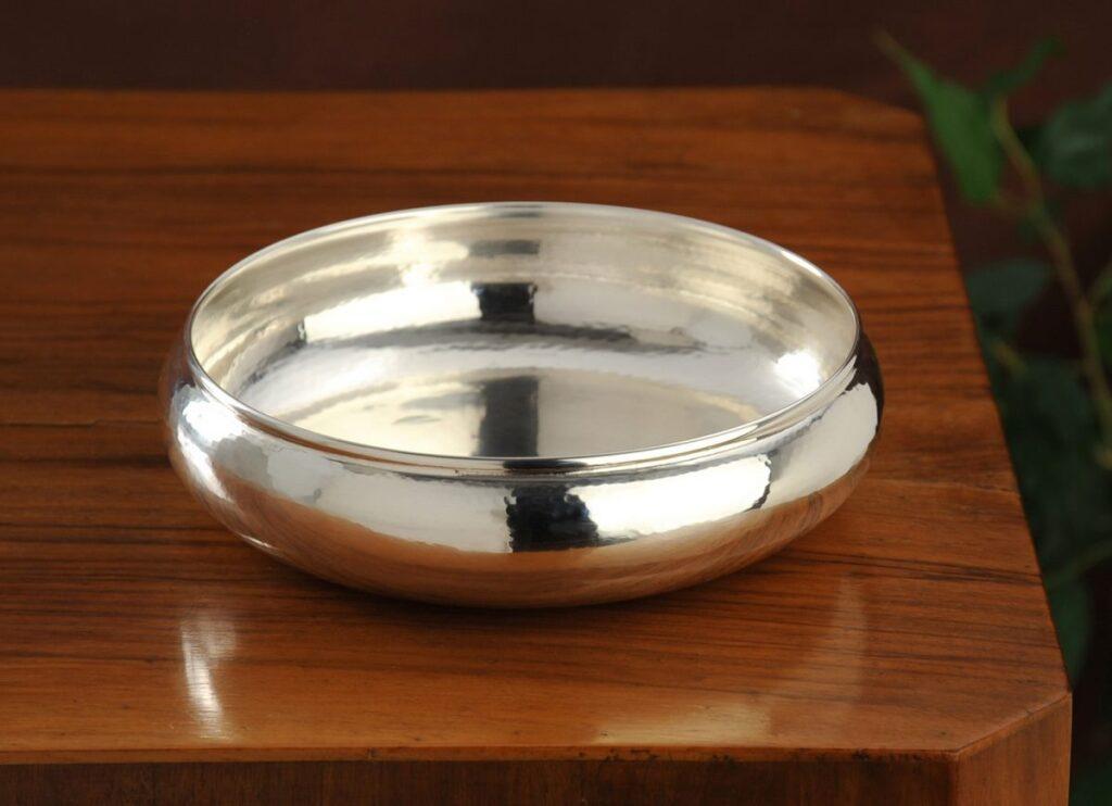 ciotola tonda in argento  per arredo casa
