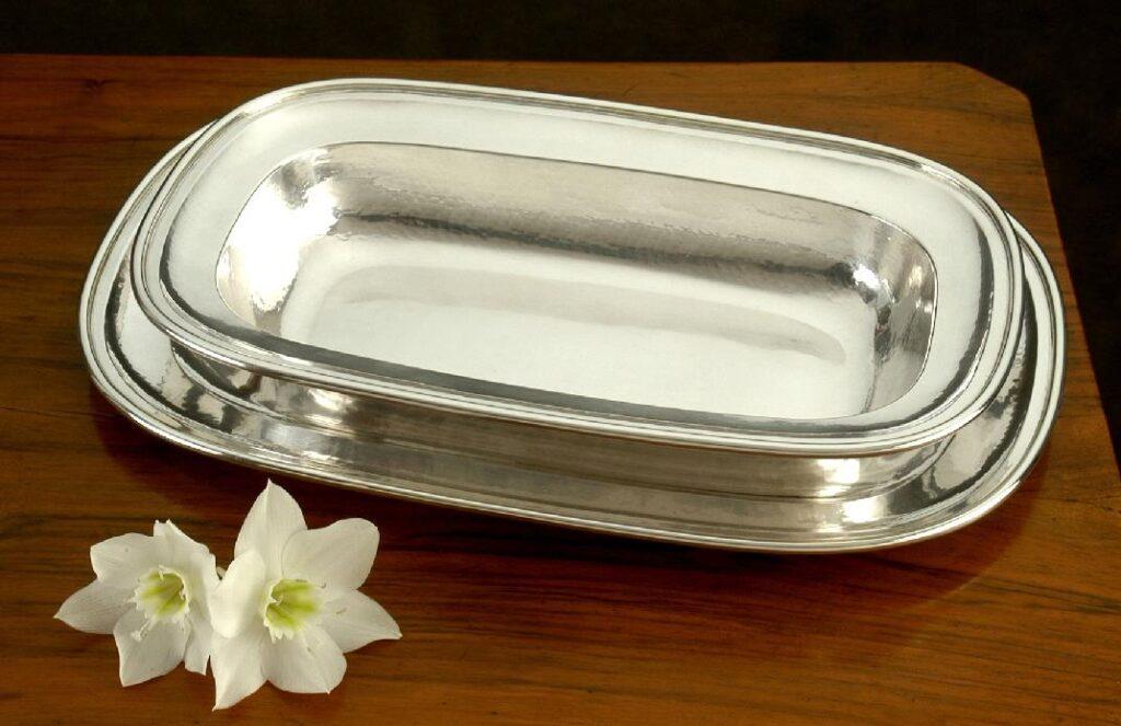 risottiera in argento rettangolare per arredo casa