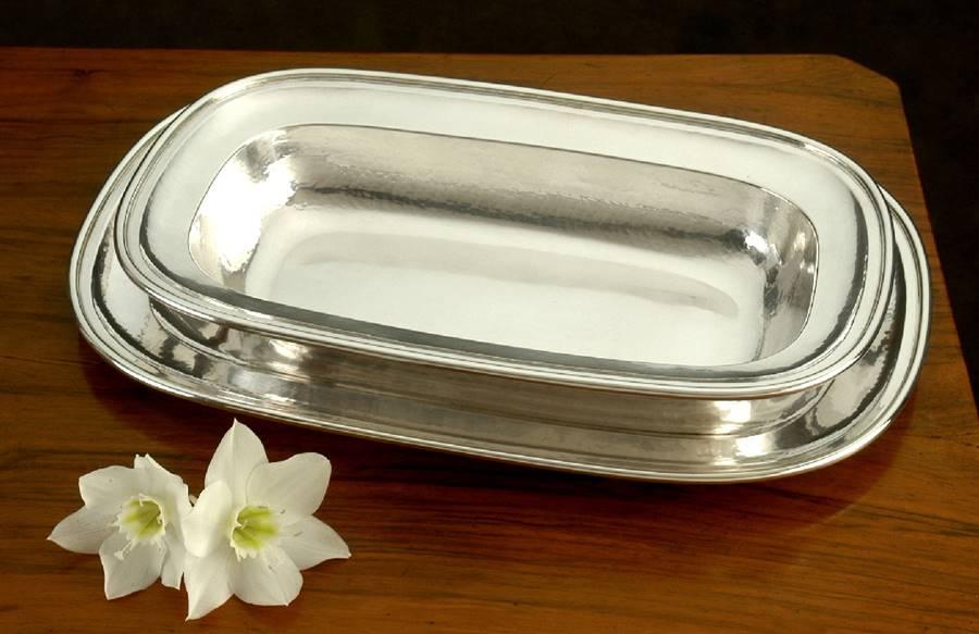 risottiera rettangolare in argento stile inglese fatta a mano