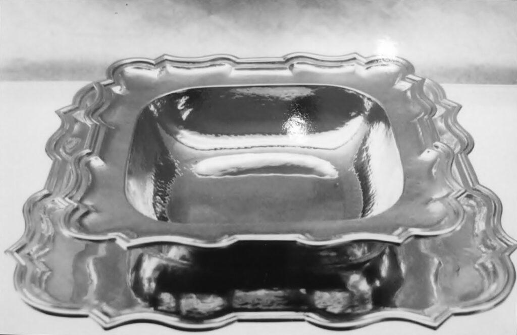 risottiera quadrata in argento per arredo casa