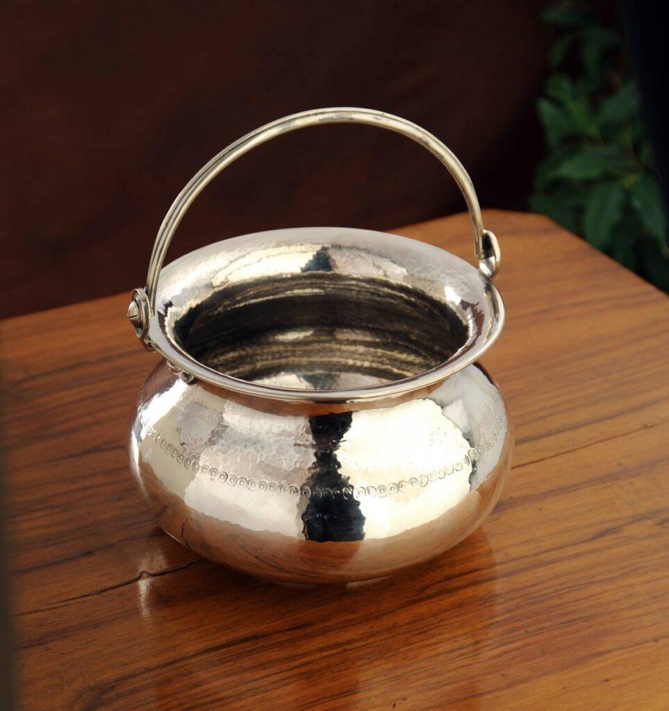 secchiello in argento liscio  per arredo casa