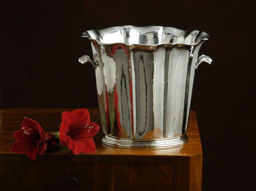 secchio champagne in argento stile '700 per arredo casa