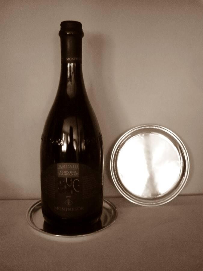 sottobottiglia tondo in argento diametro cm. 12.5
