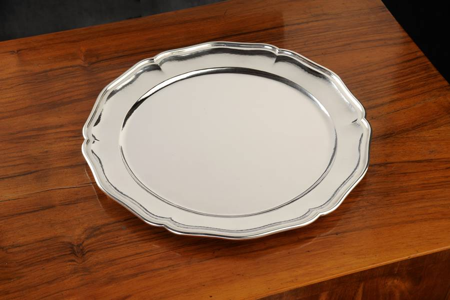 sottopiatto tondo in argento stile veneziano