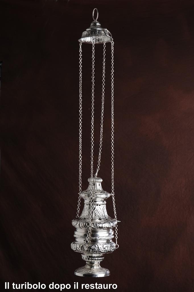 RESTAURO ARTICOLI LITURGICI- Turibolo in argento, come si presenta dopo il restauro effettuato da Argenteria Carlo Rossi di Vicenza