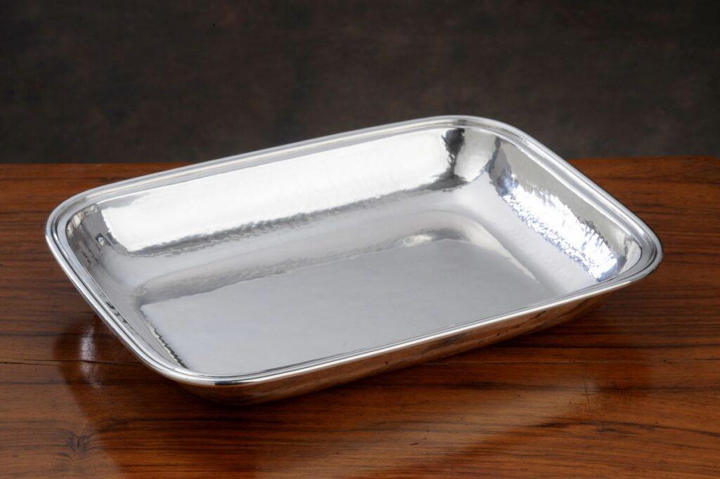 vaschetta in argento rettangolare artigianale per arredo casa