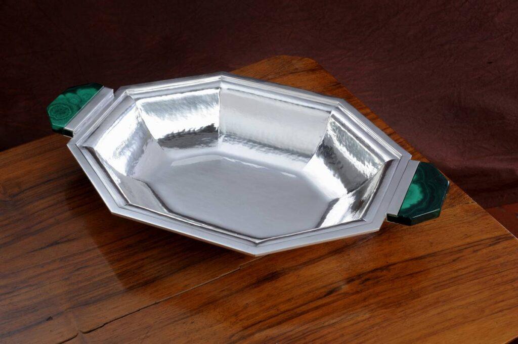 vaschetta ottagonale con malachite in argento per arredo casa