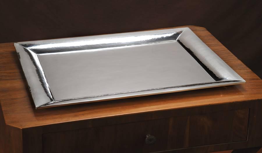 Vassoio in argento rettangolare stile squadrato