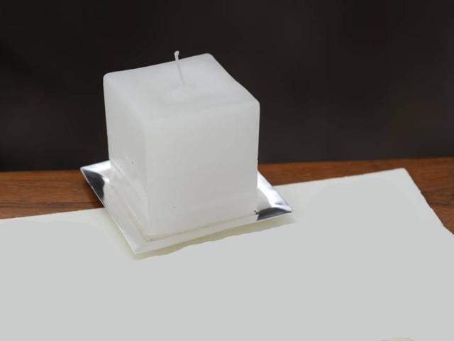 Piattino porta candela in argento
