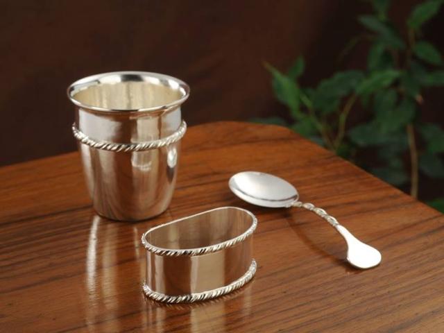 set bimbo in argento st. San Marco fatto a mano